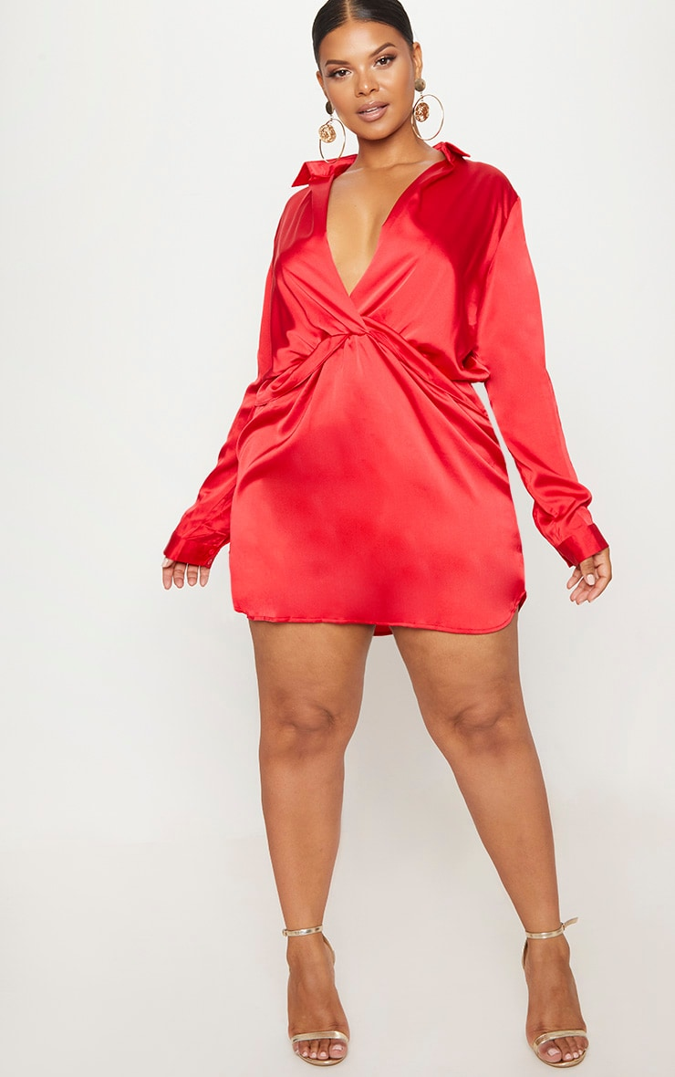 Plus Red Twist Front Silky Shirt Dress 4