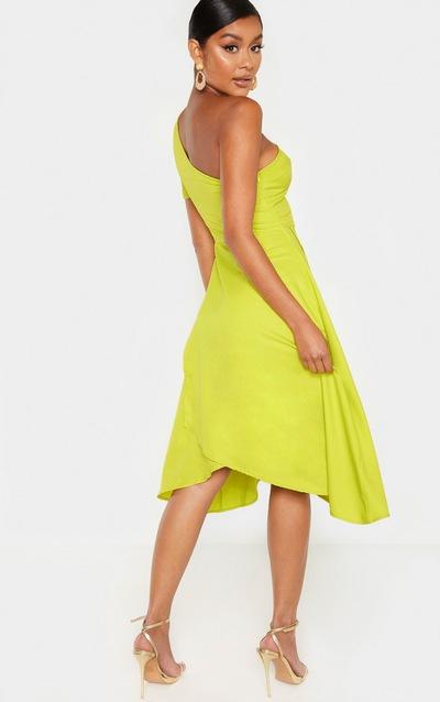 Lime Ruffle One Shoulder Midi Dress