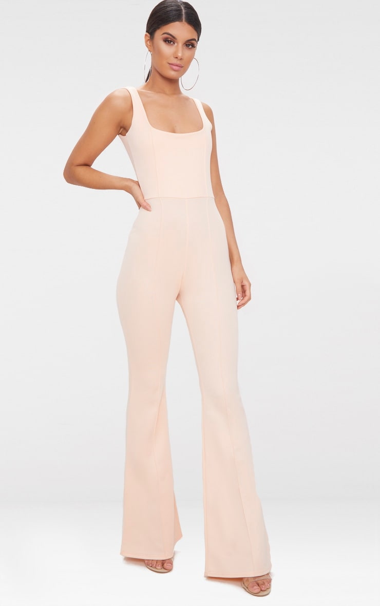 Nude Square Neck Seam Detail Jumpsuit