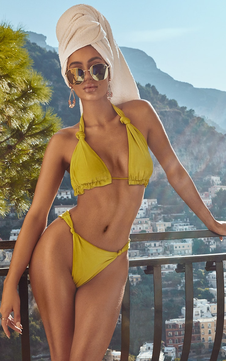 Olive Knotted Bikini Bottom 1