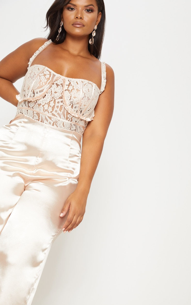 Champagne Frill Detail Lace Top Satin Jumpsuit 7