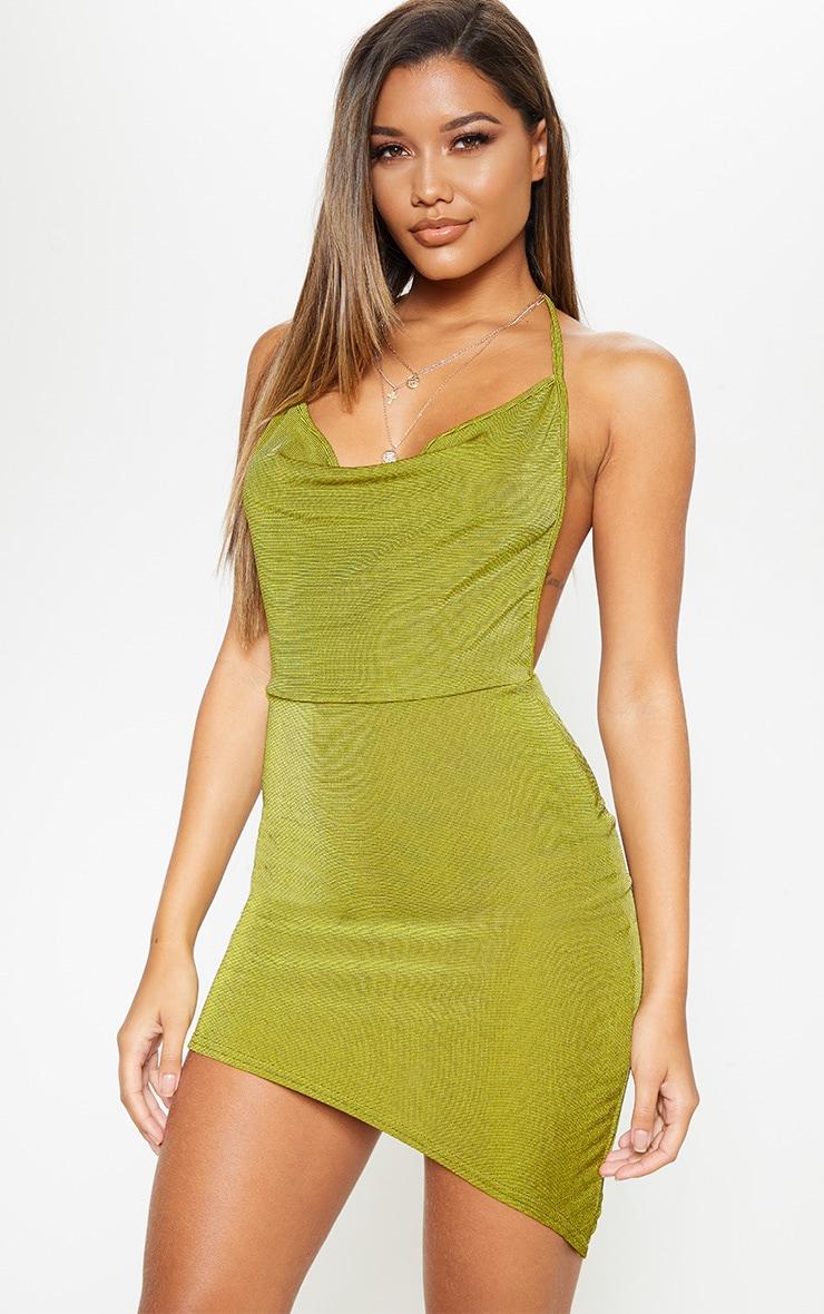 Olive Halterneck Asymmetric Hem Bodycon Dress by Prettylittlething