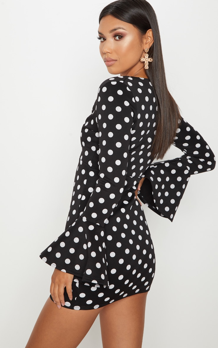 Black Polkadot Plunge Frill Sleeve Bodycon Dress 2