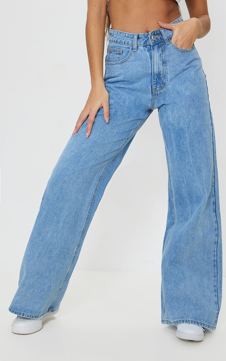 Light Blue Wash Light Weight Wide Leg Jeans 2