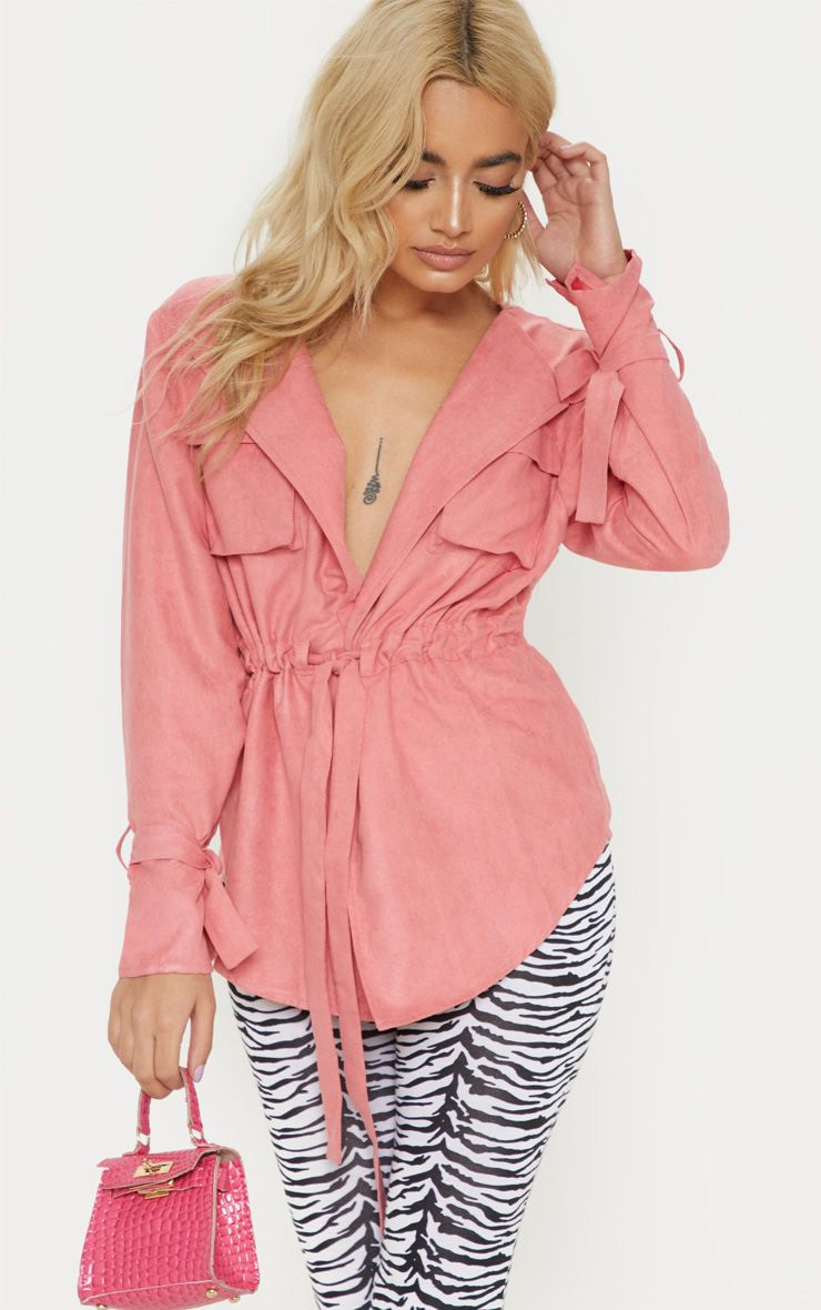 Petite Rose Faux Suede Cargo Ruched Waist Shirt 1