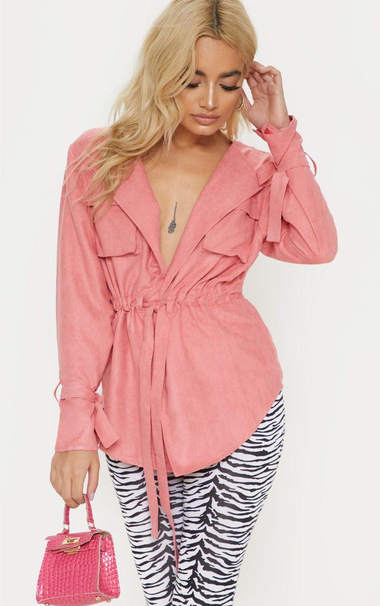 Petite - Chemise cargo en suédine rose et taille froncée, Rose