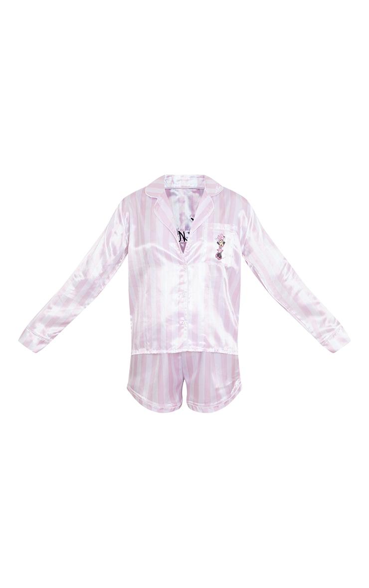 Pink Disney Minnie Stripe Button Up Satin Short PJ Set 5