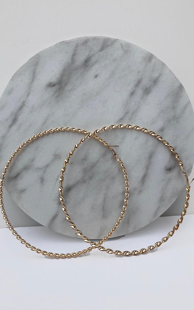 Brynn Gold Big Twisted Metal Hoop Earrings 2