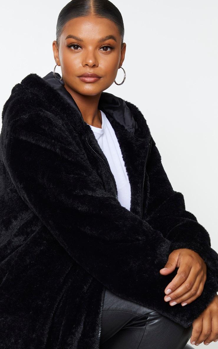 Plus Black Hooded Faux Fur Midi Coat 4