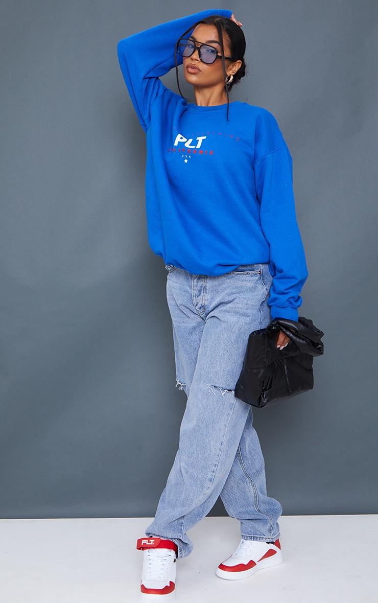 PRETTYLITTLETHING Cobalt Sport Print Sweatshirt 3