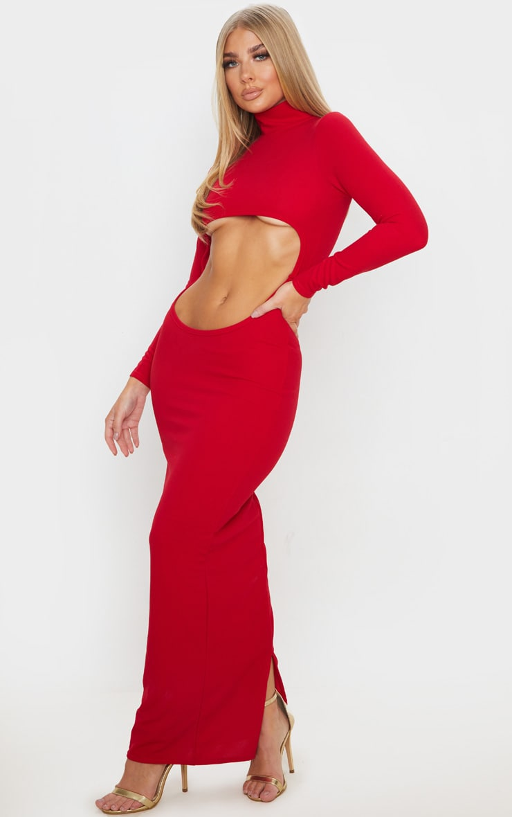 Red High Neck Long Sleeve Extreme Centre Cut Out Midi Dress 4