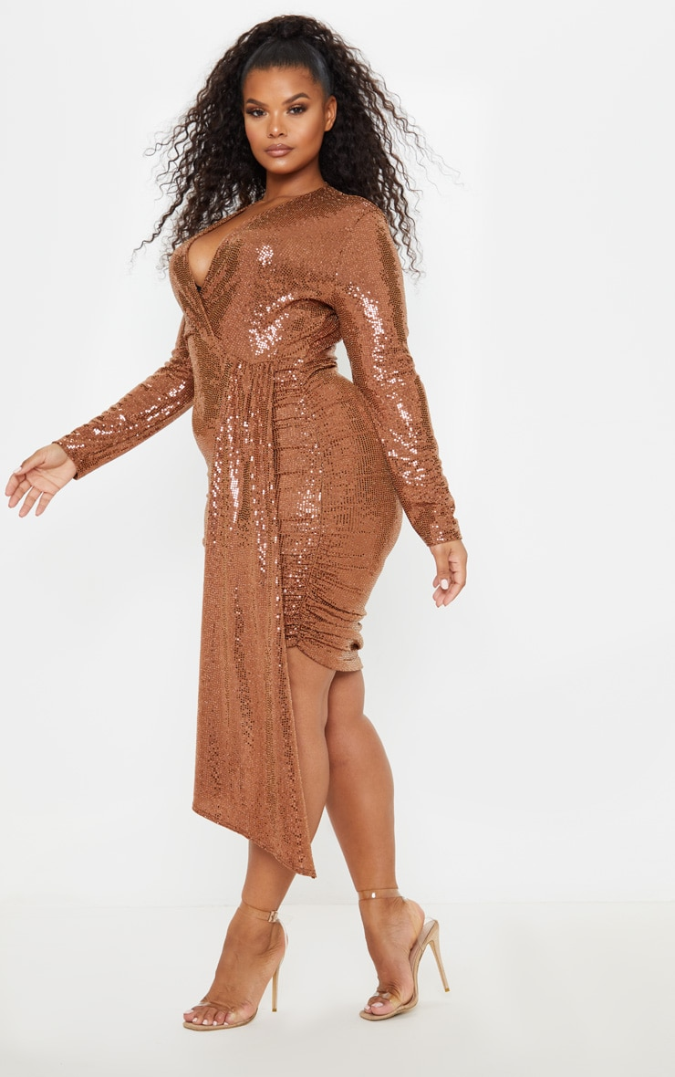 Plus Bronze Sequin Plunge Bodycon Dress 4