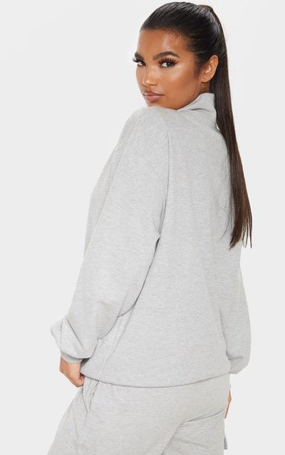 Grey Zip Front Oversized Sweater