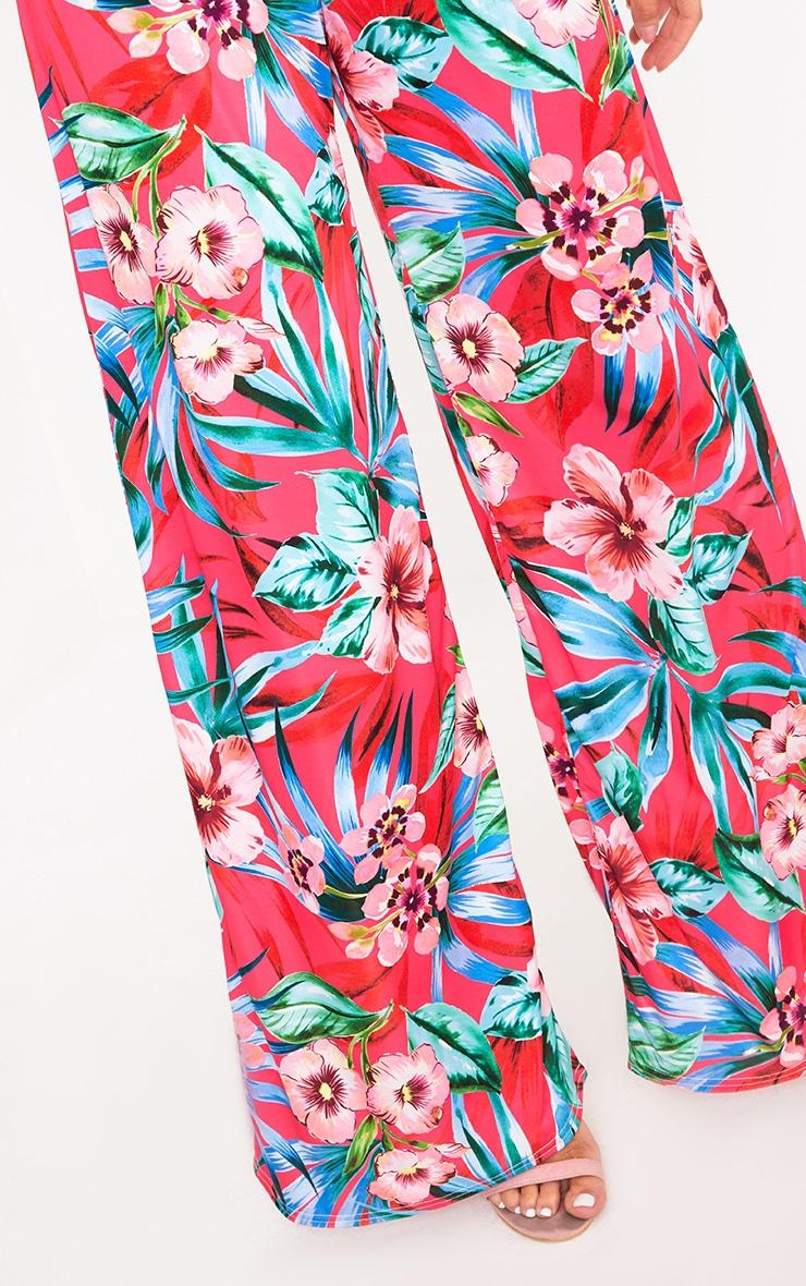 Fuchsia Tropical Floral Print Wide Leg Trousers 3