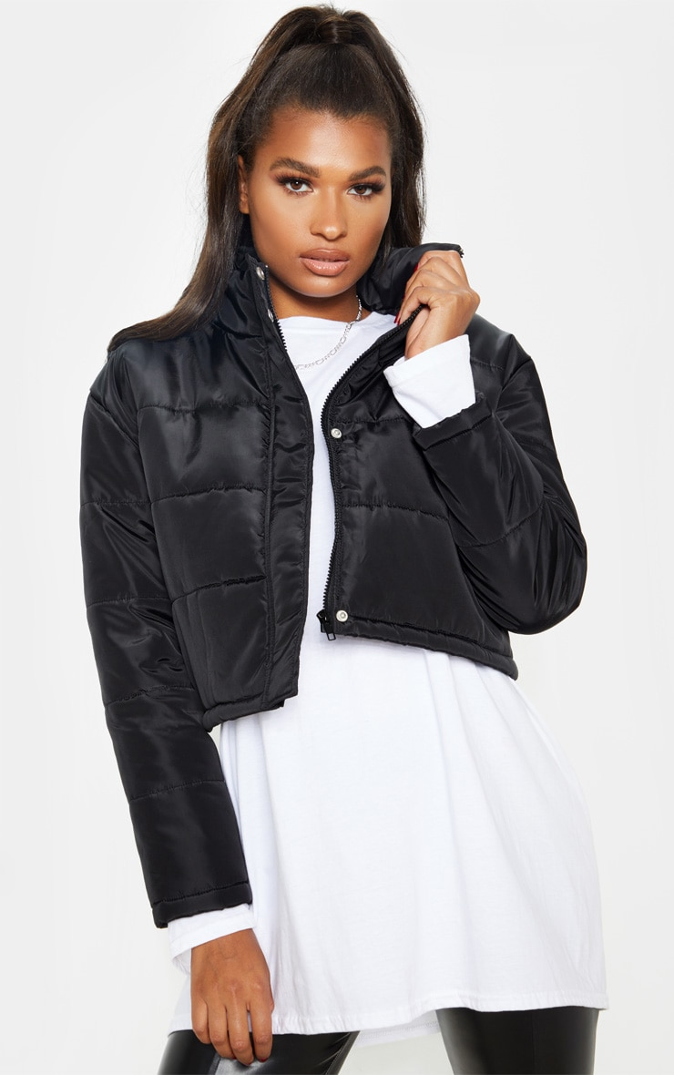 Black Super Cropped Puffer 4
