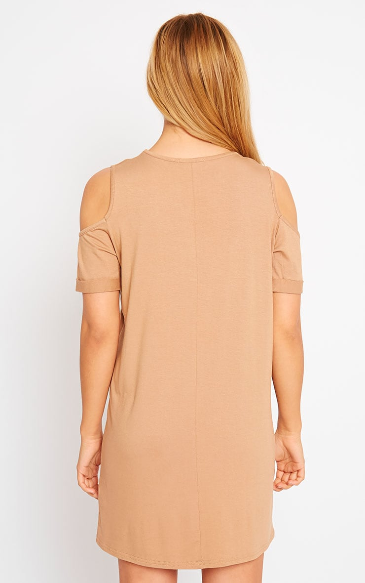 Basic Camel Cut Out Shoulder Dress 2