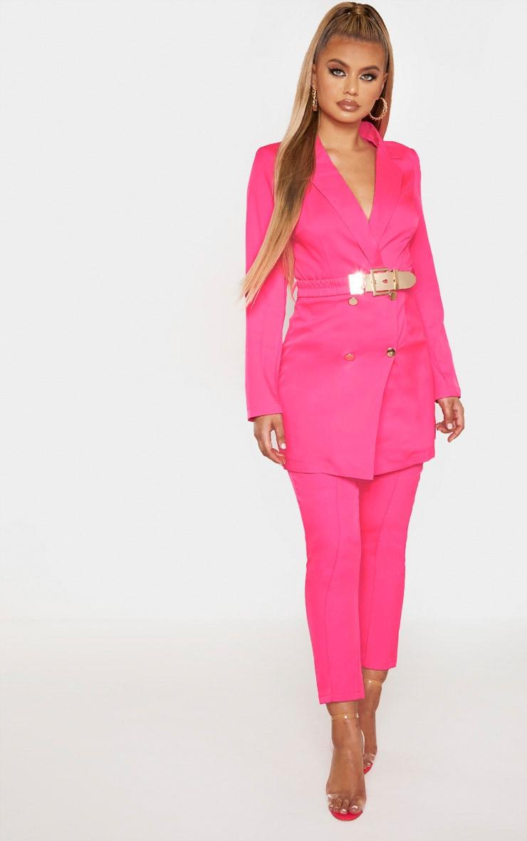 Hot Pink Belt Detail Front Seam Cigarette Pants 1