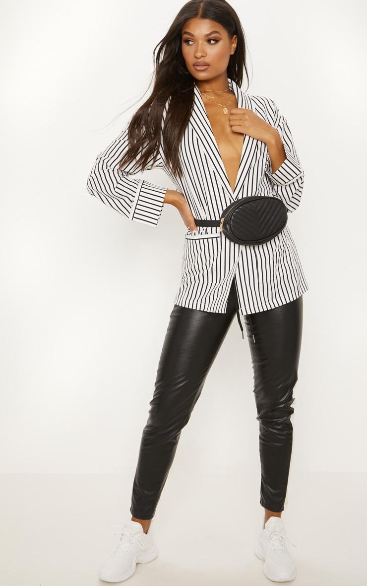 White Striped Satin Blazer 4