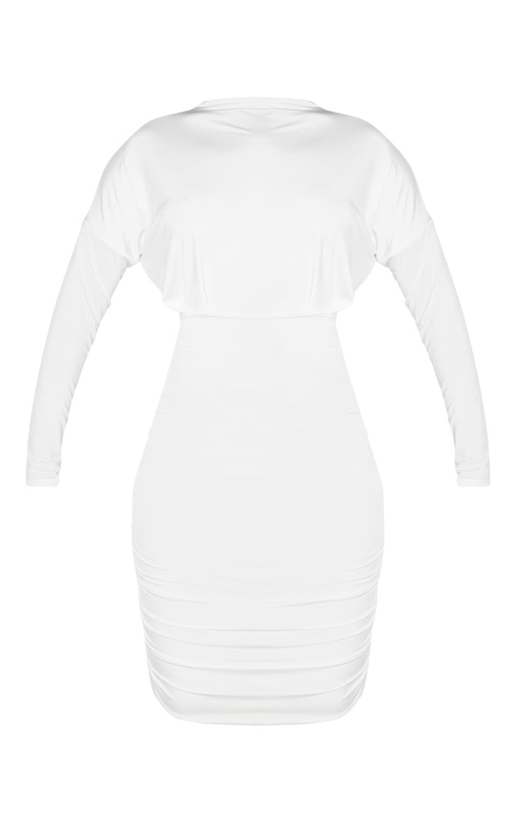 White Slinky High Neck Long Sleeve Ruched Back Bodycon Dress 3
