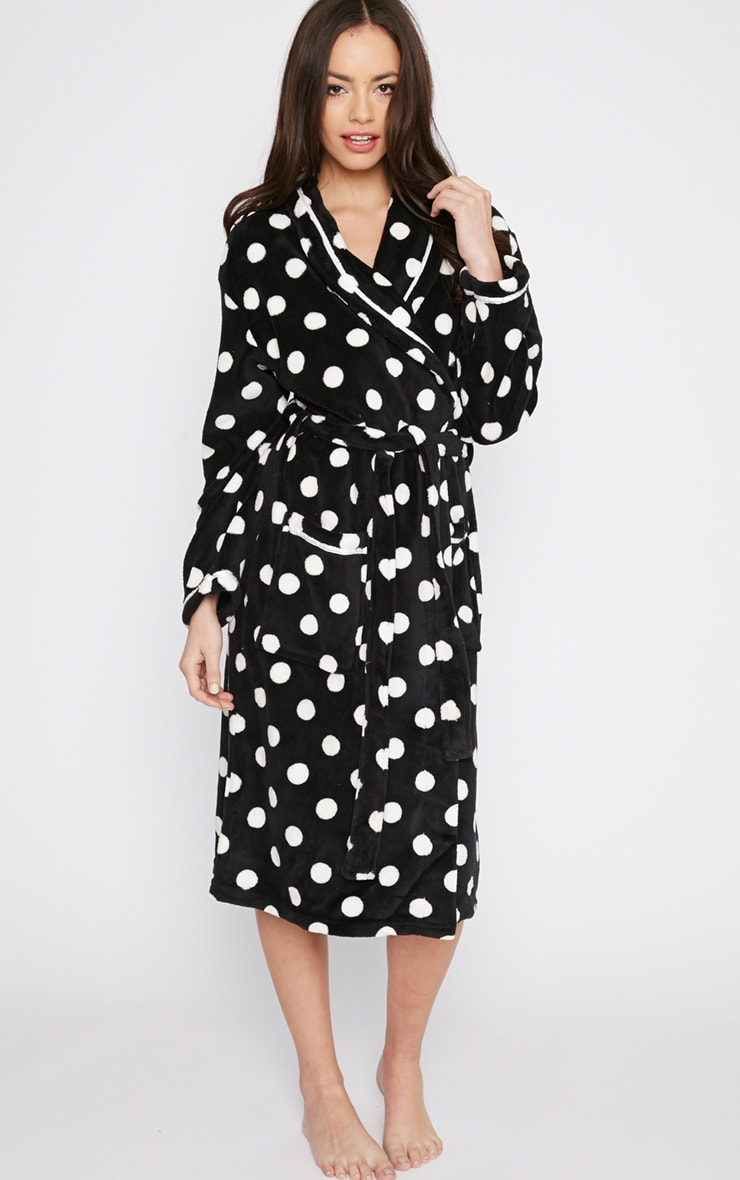 Farri Monochrome Spotty Fleece Dressing Gown  1