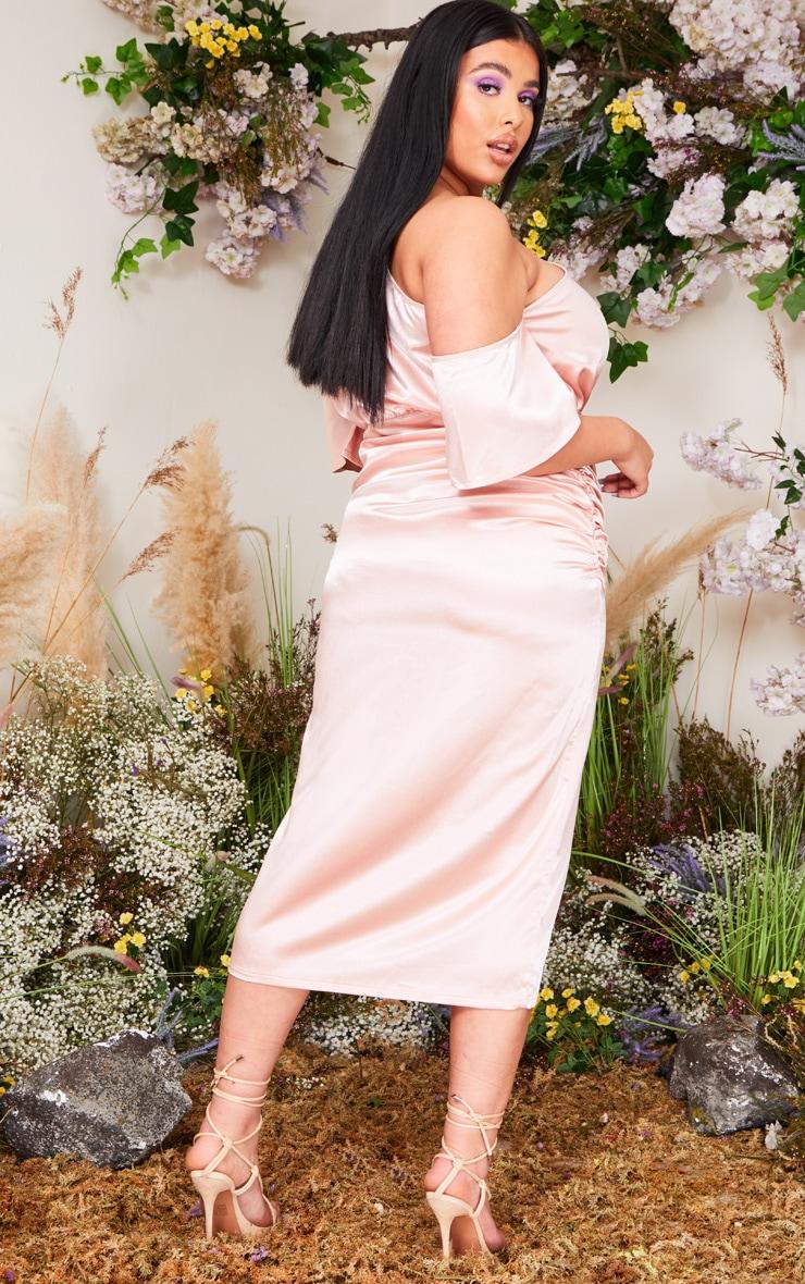 Plus Blush Satin One Shoulder Ruched Skirt Midi Dress 2