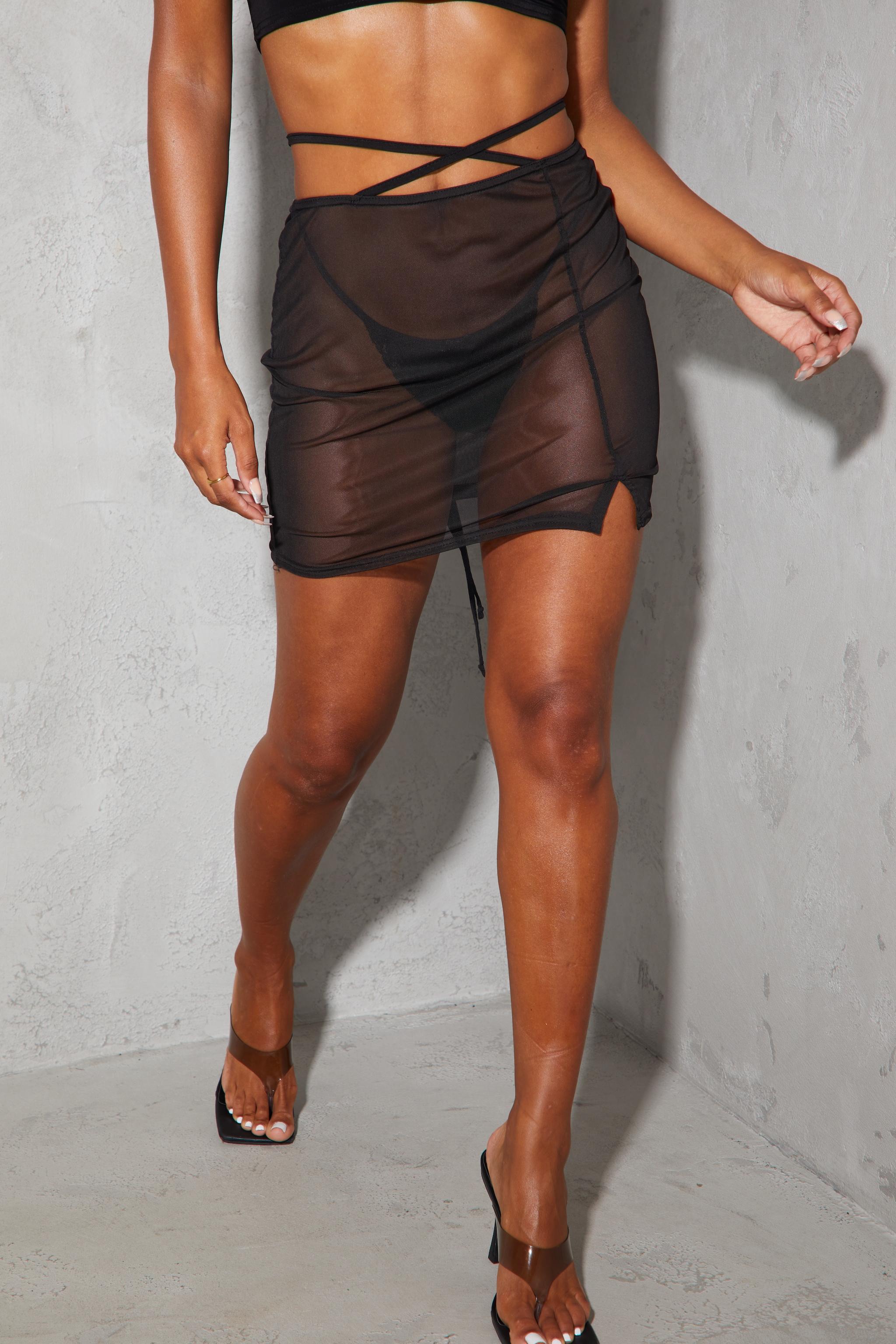 Black Mesh Tie Waist Split Hem Mini Skirt 2
