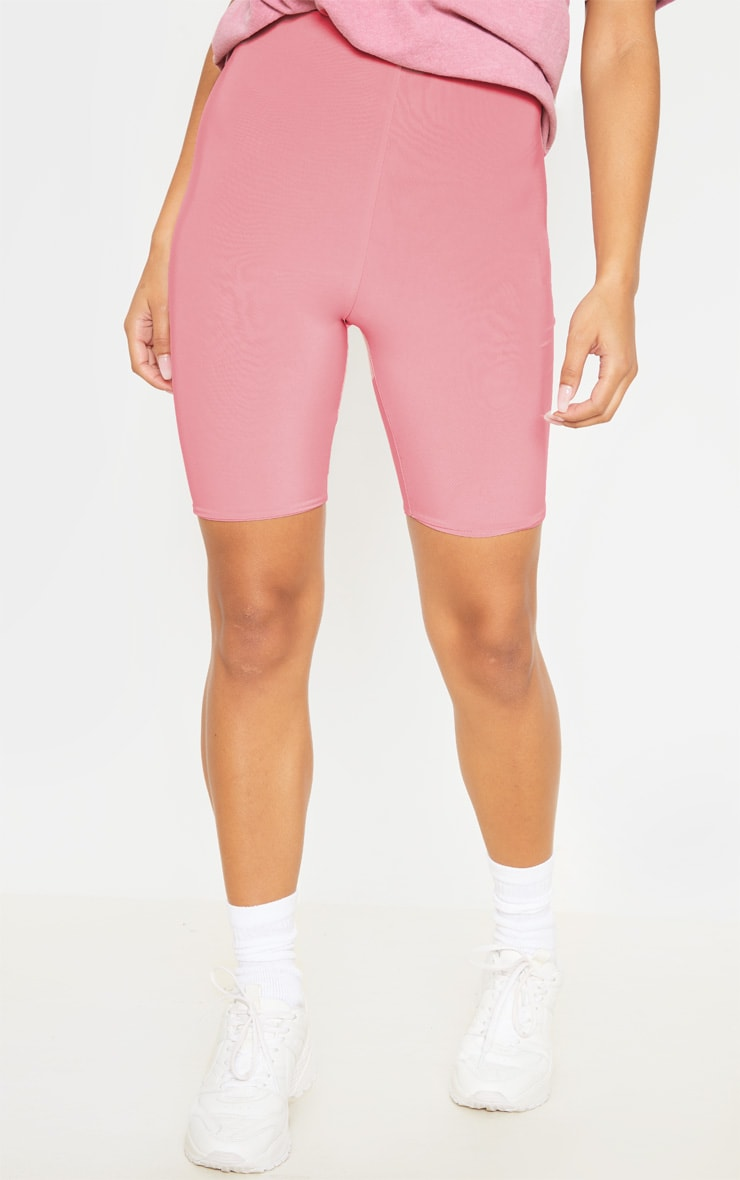 Bella Pink Slinky High Waisted Bike Shorts 2