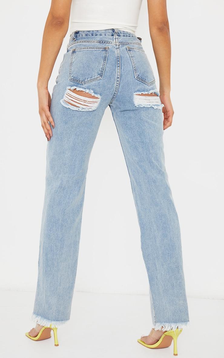 Light Blue Wash Double Bum Rip Split Hem Jeans 3