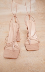 Nude Wide Fit Faux Suede Toe Detail Lace Up Block Heeled Sandals 3