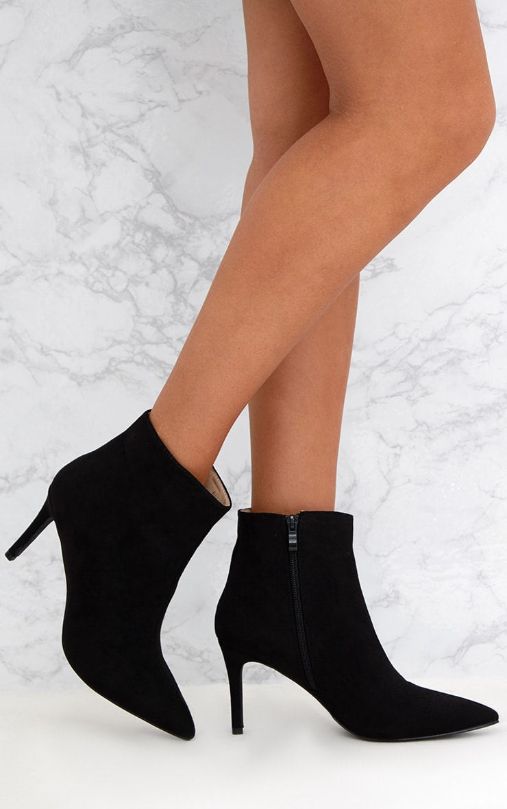 Black Mid Heel Pointed Ankle Boots Shoes