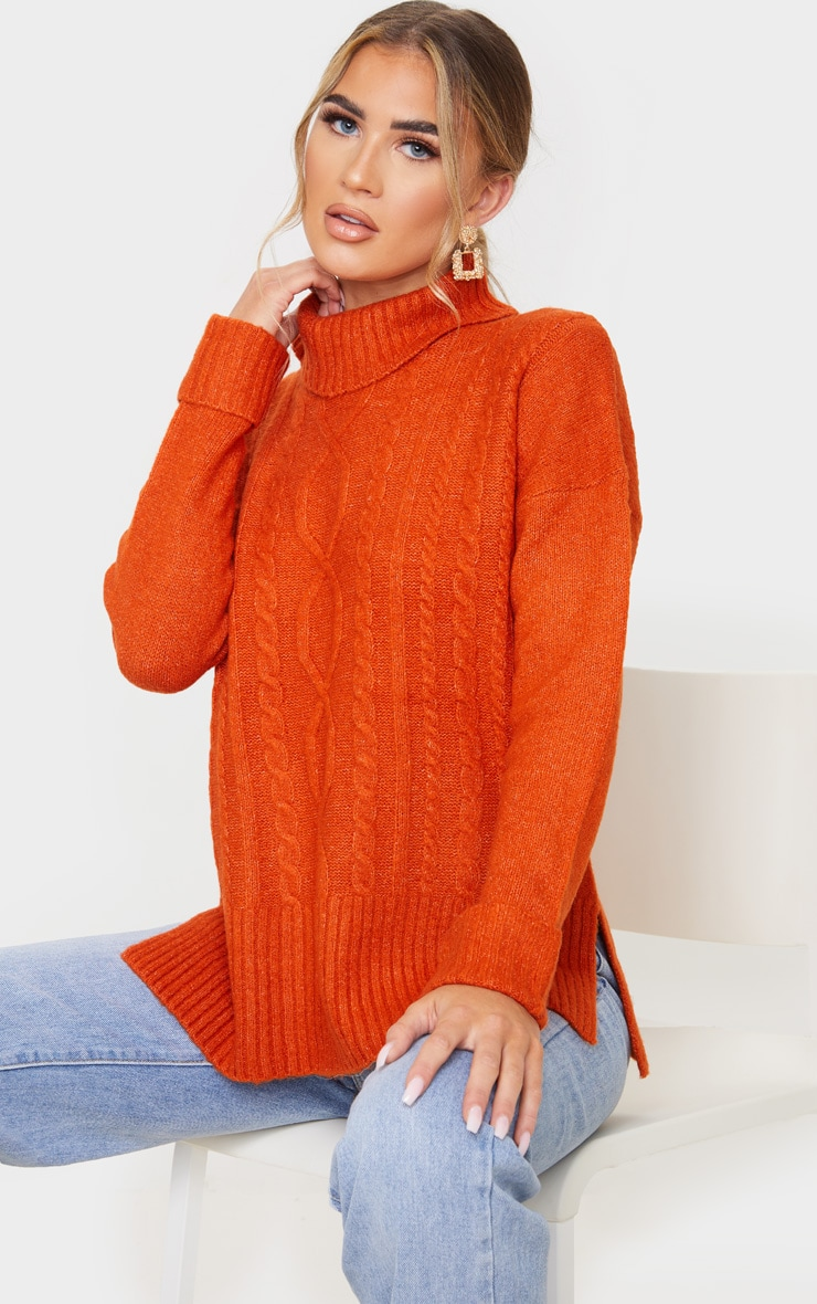 Orange Roll Neck Fluffy Cable Sweater 1