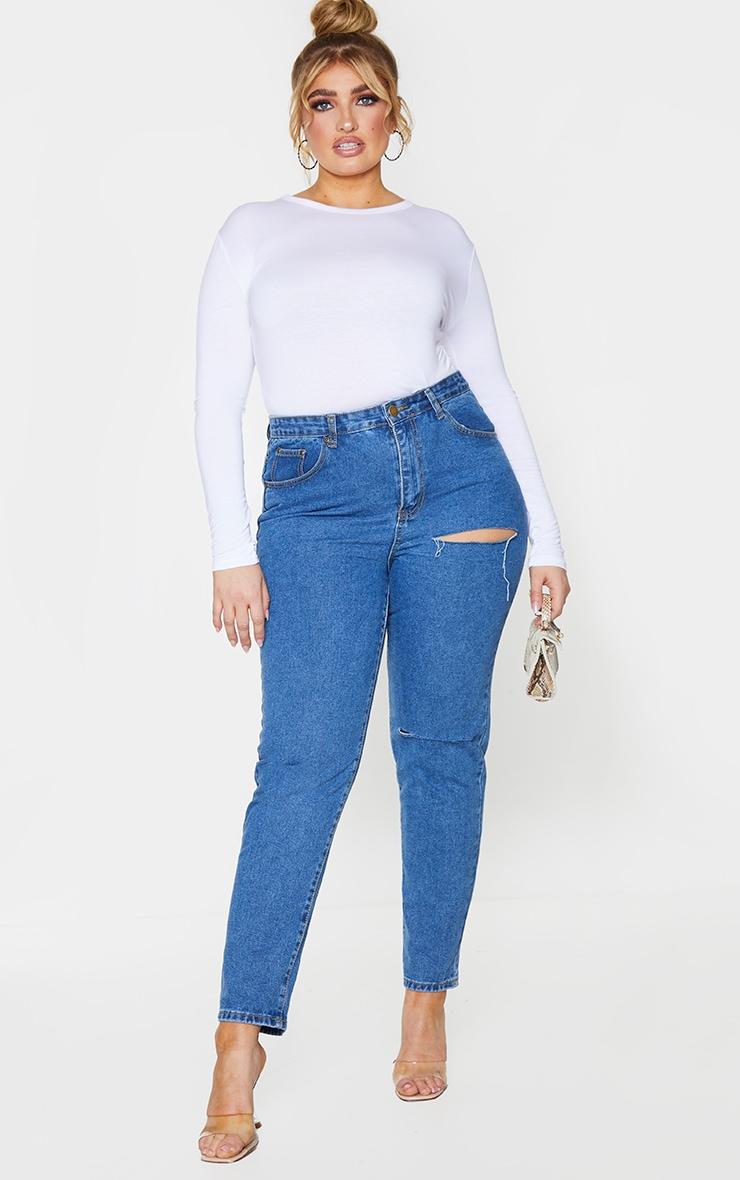 PLT Plus - Tee-shirt cintré blanc à manches longues 3