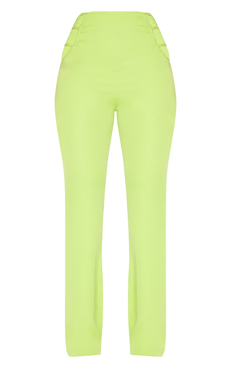 Lime Woven Cut Out Detail Skinny Flared Trousers 6
