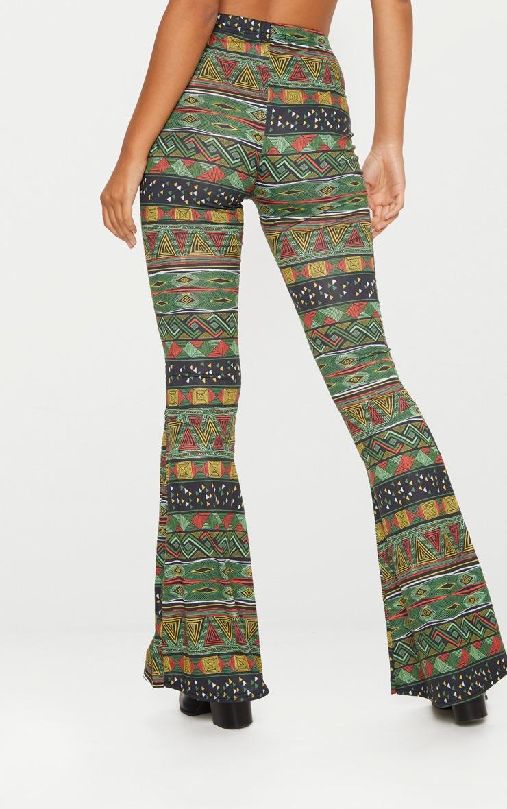 Green Tribal Print Flare Trouser  4