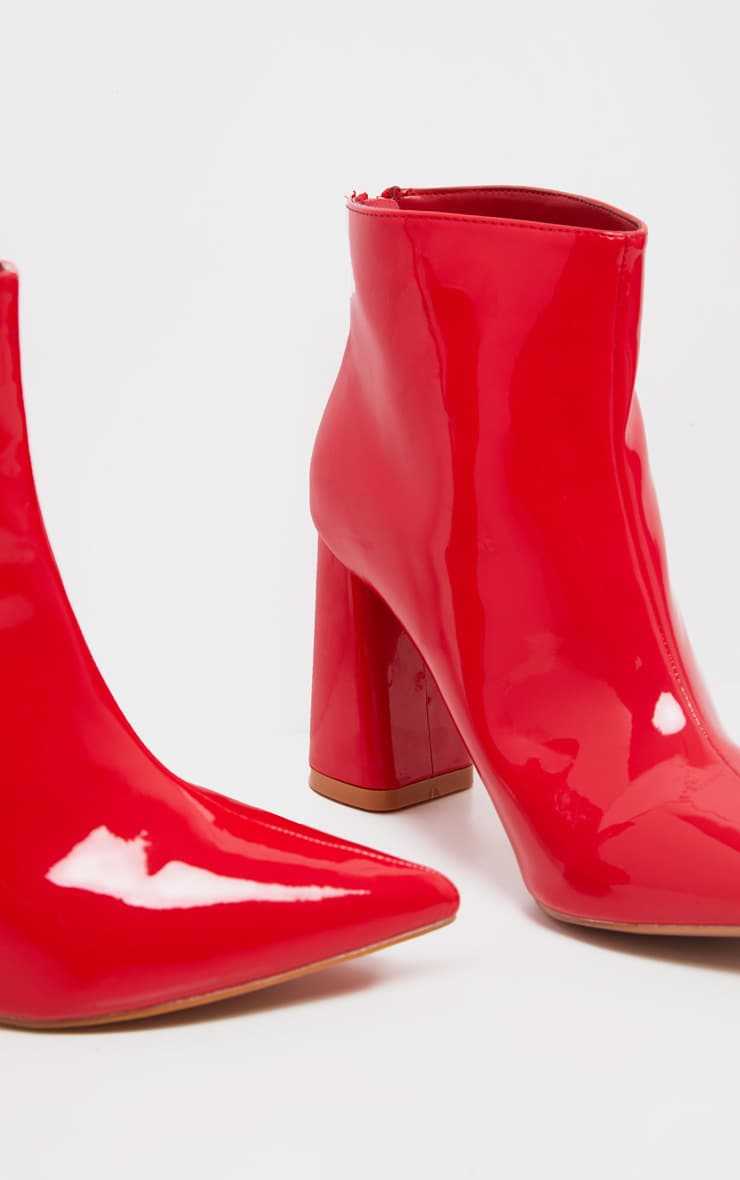 Red Patent Block Heel Point Ankle Boot 3