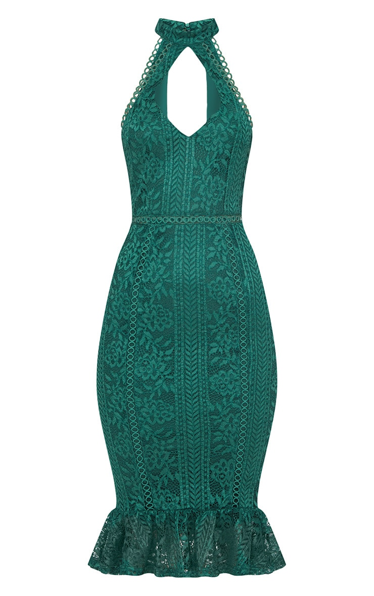 Emerald Green Lace Cut Out Frill Detail Midi Dress 3