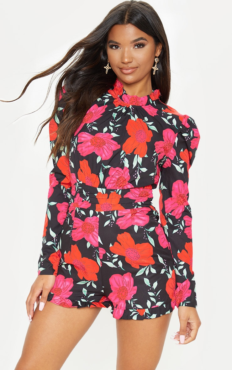ced1c841c3b4 Black Floral Print High Neck Playsuit | PrettyLittleThing