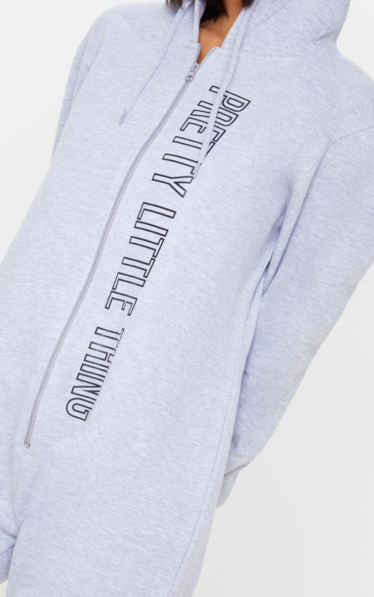 PRETTYLITTLETHING Grey Hooded Zip Up Onesie 5