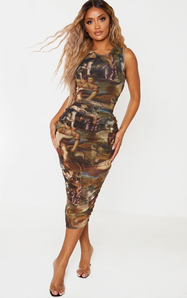 Shape - Robe mi-longue sans manches à imprimé renaissance multicolore 1