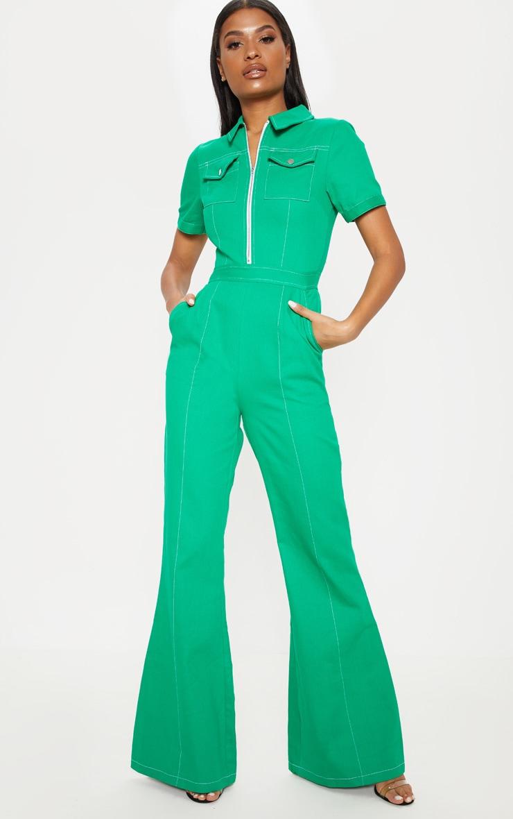 Green Zip Front Contrast Stitch Jumpsuit 1