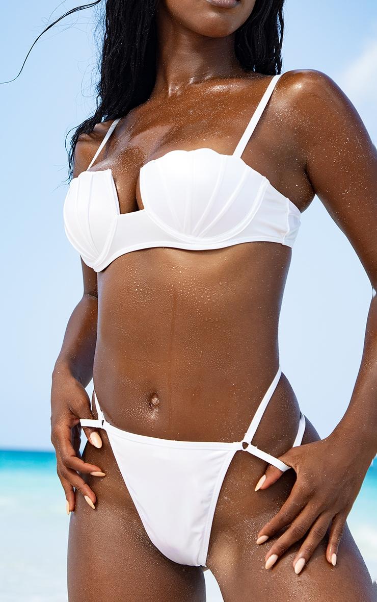 White Pearlescent Shell Cupped Bikini Top 3