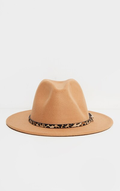 Camel Leopard Trim Fedora Hat