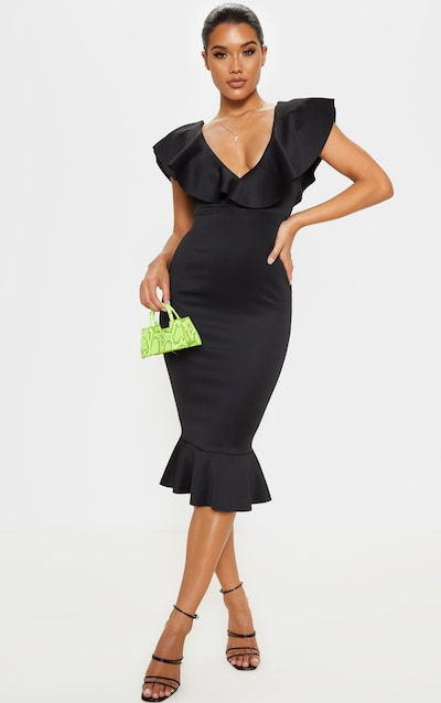 f451ebfe1c1 Black Plunge Frill Detail Scuba Midi Dress