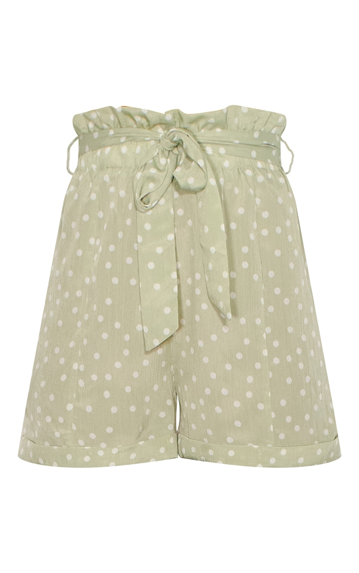Sage Green Polka Dot Satin Shorts 6