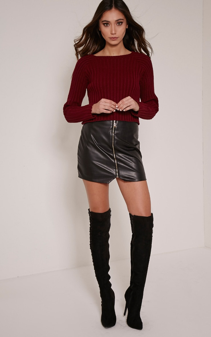 Laurah Burgundy Ribbed Crop Jumper 3