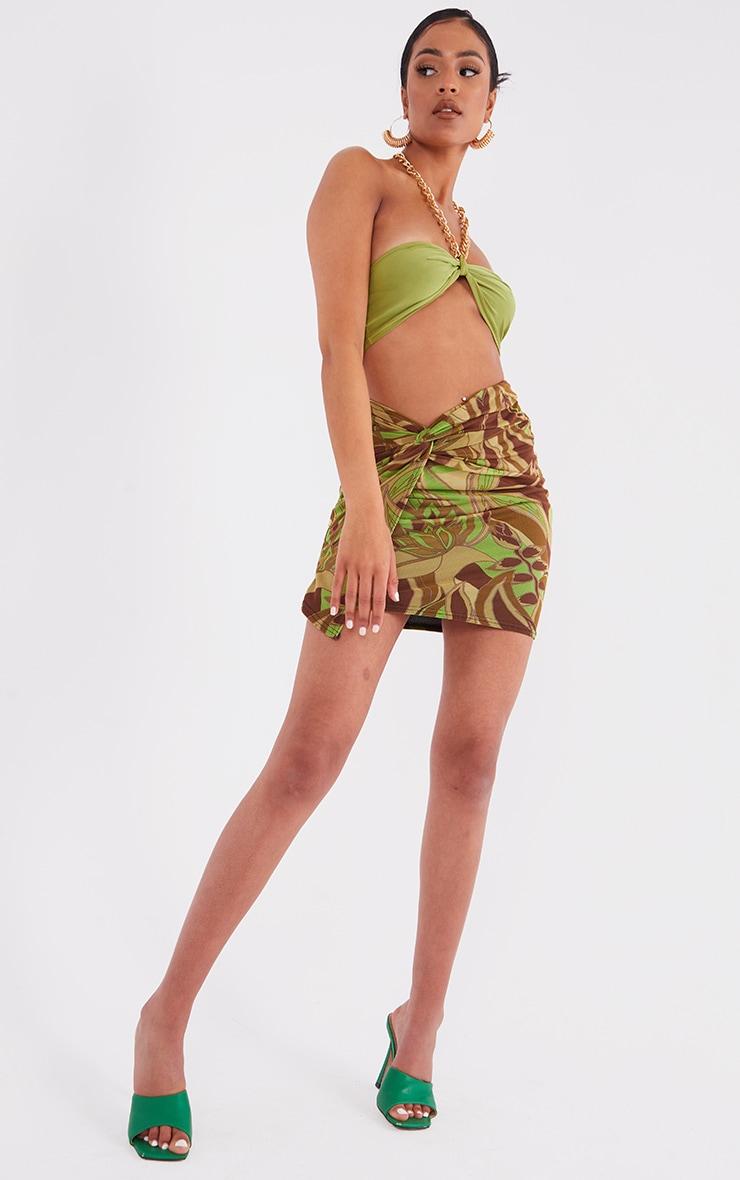Tall Khaki Floral Print Wrap Mini Skirt 1