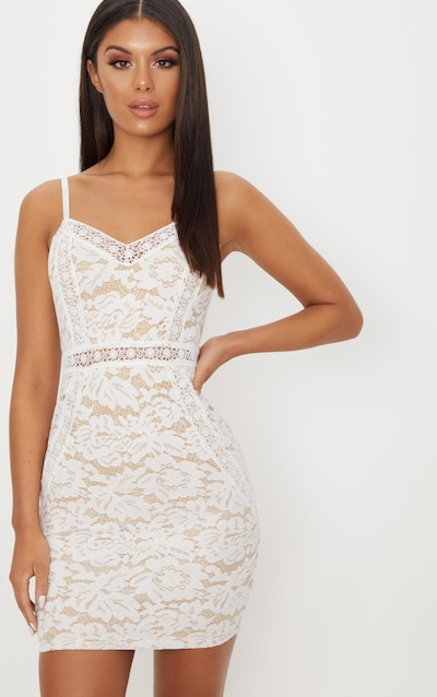 d08fb0953b309 White Strappy Lace Contrast Bodycon Dress