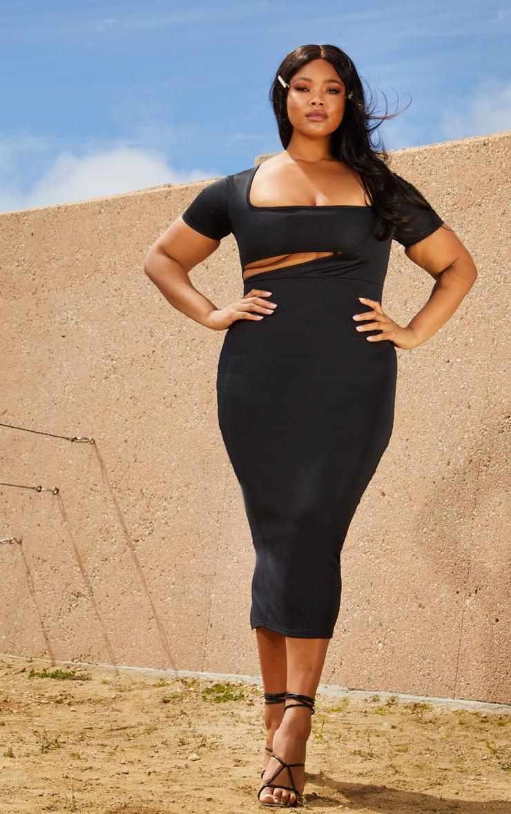 Plus Black Second Skin Square Neck Cut Out Midaxi Dress 4