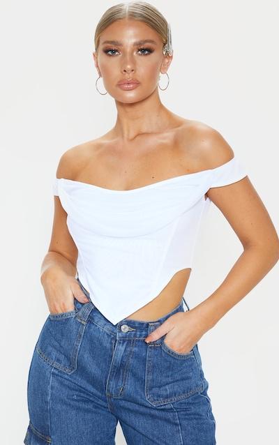 White Corset Mesh Bardot Top