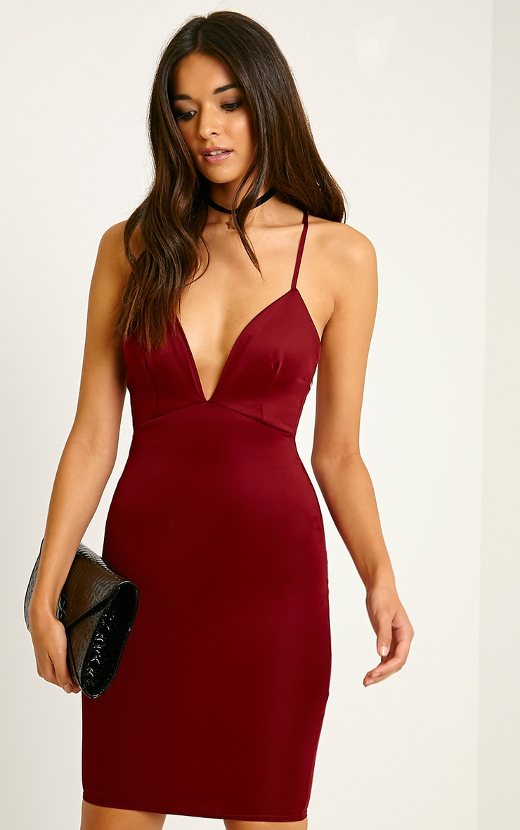 Nada Burgundy Plunge Cross Back Midi Dress image 1 460778be5